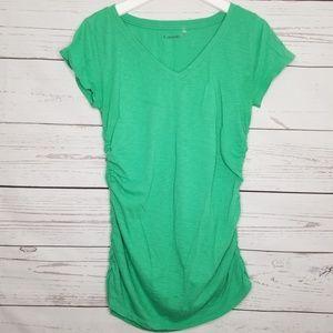 Caslon | Green Cinched Side V-Neck Shirt Top